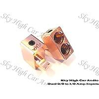 Pair of Sky High Car Audio COPPER Dual 2/0 Gauge to 1/0 Gauge Amp Input Reducers