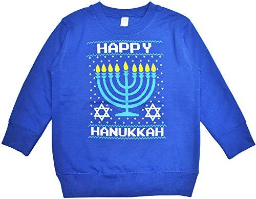 Rabbit Skin Little Girls Sweatshirt Happy Hanukkah Print Pullover (Blue, 2) ()