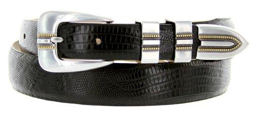 Vincente Men's Genuine Italian Calfskin Leather Dress Belt (52, Lizard Black)