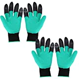 Freahap 2 Pairs Garden Gloves with Claws on 2 Hands for Planting Digging Pruning