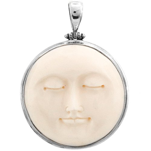 """Carved Sun Moon Moonface Duo Goddess Bison Bone 925 Sterling Silver Pendant, 2"""""""