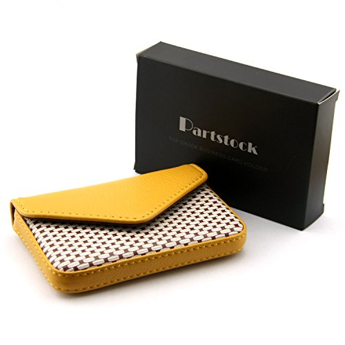 Partstock Multipurpose PU Leather Business Name Card Holder Wallet Leather Credit card ID Case/Holder/Cards Case with Magnetic Shut.Perfect Gift - Yellow