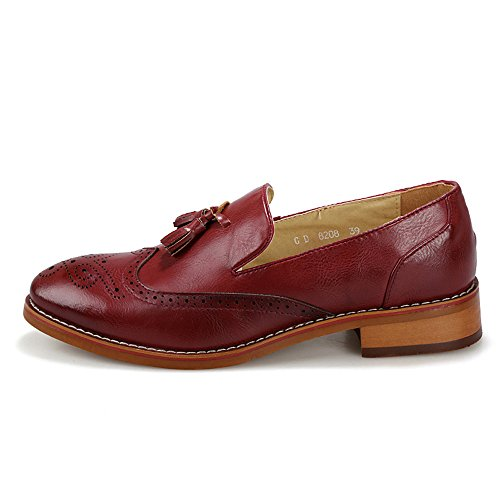 EnllerviiD Men Slip On Leather Tassel Loafers Classic Point Toe Brogue Dress Oxfords Shoes 8208 Wine Red lCOqbpTGK