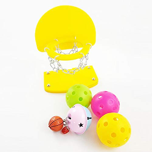 QNMM Pet Bird Toys Entrenamiento De Loros Baloncesto Mini Canasta Aro Prop Truco Prop. + Bolas Adecuado para Loros Pequeños...