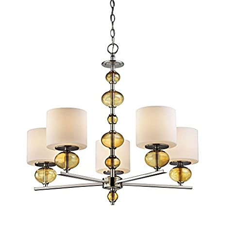 5-Light Satin Nickel Chandelier with Etched Opal Glass Shades and Amber Glass Accents - Etched Opal Glass Shade