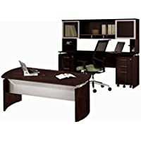 Mayline Executive Office W/Hutch 63W X 102D X 48H One File/File Drawer Mobile Pedestal & One Box/Box/File Mobile Pedestal - Mocha