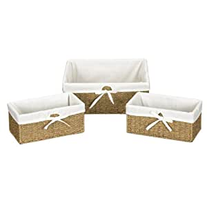 Household Essentials ML-5611 Set of Three Woven Wicker Storage Baskets with Removable Liners | Natural Seagrass