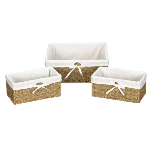 Household Essentials ML-5611 Set of Three Woven Wicker Storage Baskets with Removable Liners - Natural