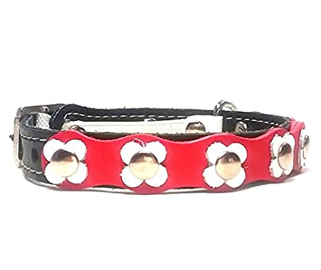 Superpipapo Collar para Gatos de Cuero con Cierre Seguridad Elastico, Flower-Power Flores en Cuero Rojo Blanco Negro: Amazon.es: Hogar