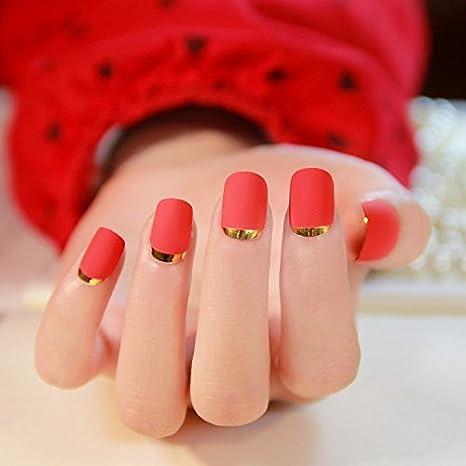 Las uñas falsas uñas postizas de diseño de uñas Pretty Designs uñas de color rojo falsos: Amazon.es: Belleza