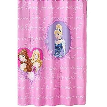 Disney Princess Fabric Shower Curtain Set Cinderella Aurora w//Hooks Licensed new