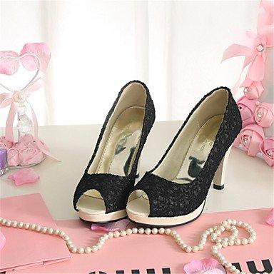 LvYuan Mujer-Tacón Stiletto-Zapatos del club Innovador-Sandalias-Informal Vestido-Materiales Personalizados-Negro Blanco Beige Black