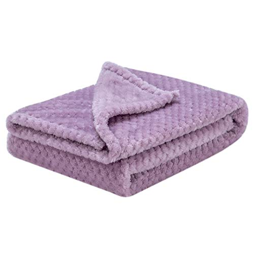 Fuzzy Blanket or Fluffy Blanket for Baby Girl or boy, Soft Warm Cozy Coral Fleece Toddler, Infant or Newborn Receiving Blanket for Crib, Stroller, Travel, Decorative (28x40 in, Lavender)