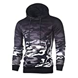 SamMoSon Men's Tuxedo Shirts, Fashion Hoodies Men, Men's Long Sleeve Camouflage Hoodie Hooded Sweatshirt Top Tee Outwear Blouse (Gray, L)