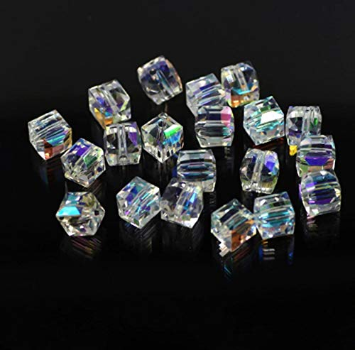 100Pcs AB Color Glass Crystal Square Cube Beads Findings Jewelry Making DIY (2mm) ()