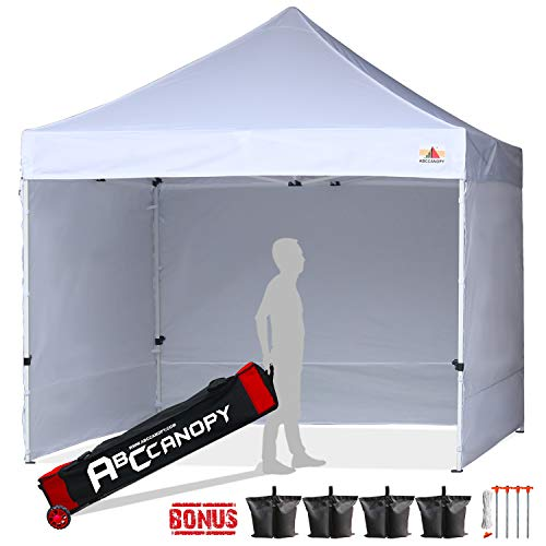 ABCCANOPY Canopy Tent 10x10 Pop Up Canopy Tent Commercial Instant Shade Tent with Upgrade Roller Bag (White Canopy with Walls)