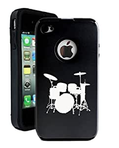 SudysAccessories Drums iPhone 4 Case iPhone 4S Case - MetalTouch Black Aluminium Shell With Silicone Inner Protective Designer Case