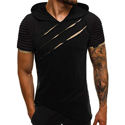 (Letdown_Men tops Hooded Shirts for Men Short Sleeve Scratch Zipper Pattern Casual Slim Fit T-Shirts Mens Fashion Summer Shirt Dark Gray)
