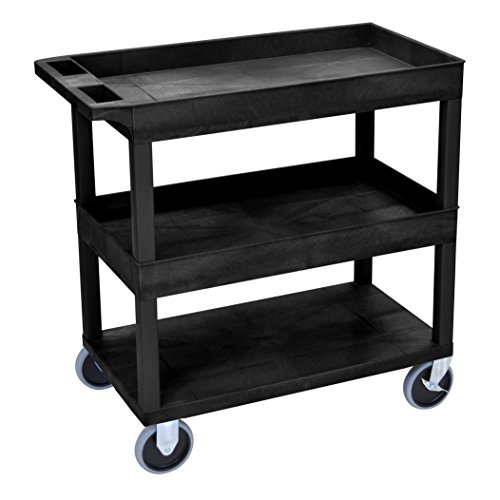 LUXOR EC112HD-B HD High Capacity Cart, 2 Tub and 1 Flat Shelf, Black ()