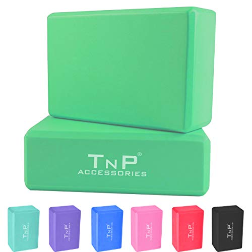 "TnP Accessories. Yoga Block Brick Blocks Set of 2 Bricks 9""×6""×4"" High Density EVA Foam Pilates Exercise Gym Support…"