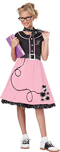 California Costumes Child's 50's Sweetheart Costume, Pink/Black, Medium
