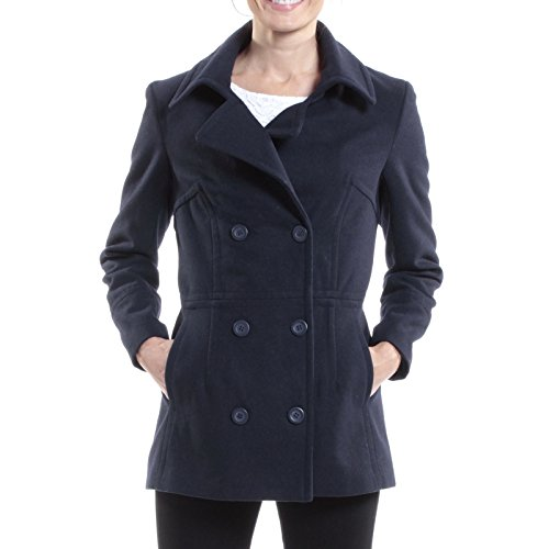alpine swiss Emma Womens Navy Wool 3/4 Length Double Breasted Peacoat Small