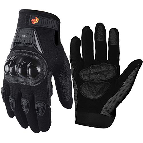 (Street Bike Full Finger Motorcycle Gloves 09 (Med, black))