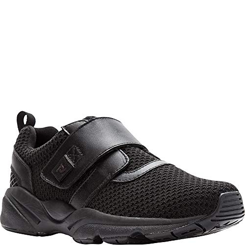 Propet Women's Stability X Strap Sneaker, Black, 10.5 Wide US (Polyurethane Black Strap)