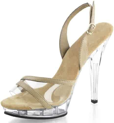 1e6df6061535 Summitfashions Sexy Women s Clear and Nude Slingback Sandal Pageant Shoes 5  Inch Heels Size 5