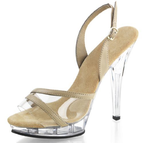 Nude and Clear Slingback Sandal Pageant Shoes with 5 Inch Heels Size: 11