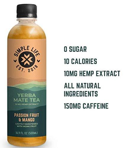 Simple Life Beverages Yerba Mate Tea, Passion Fruit & Mango, Hemp Infused, Zero Sugar, Low Calorie, All Natural, 16.9 oz., 6 Pack