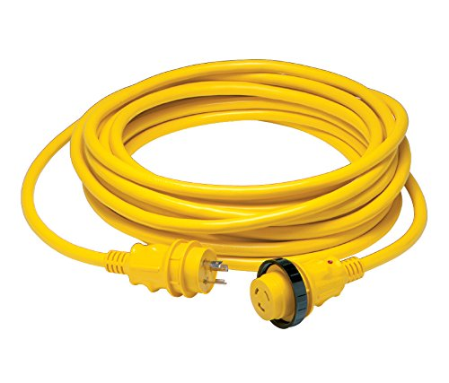 30 Amp Power Cord PLUS Cordset - 50 ft yellow in sleeve pack (30a Shore Power)
