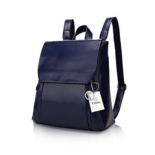 Yoome Vintage Magnetic Snap Mochila Mujeres Mochila Leather School College Bag Bolso de hombro Marrón Azul Marino