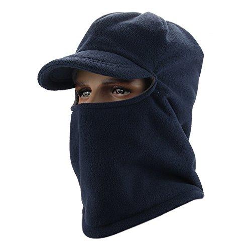 Leories Winter Windproof Cap Fleece Balaclava Hooded Face Mask Neck Warmer Ski Hood Snowboard Mask Wind Protector Ski Hat Dark Blue Snowboard Ski Hat