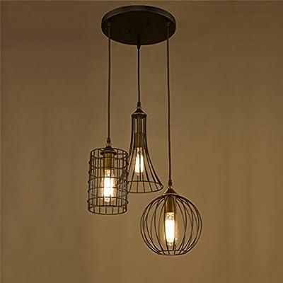Dazhuan Antique Metal Cage 3 Lights Chandelier Pendant Lighting Fixture Hanging Lamp