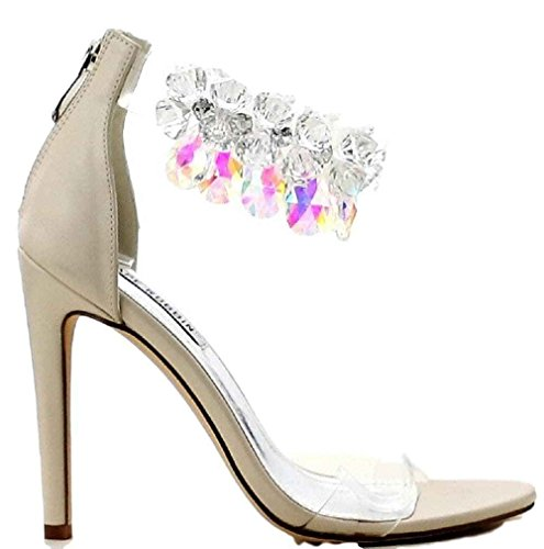Picture of CAPE ROBBIN Suzzy-54 Rhinestone Crystal Chandelier Ankle Strap Satin Stiletto Heel Sandal Nude