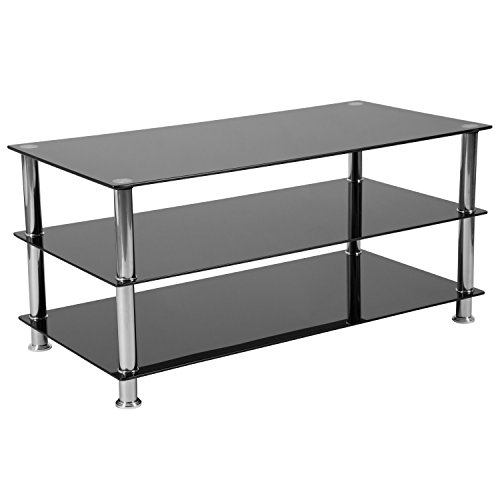 Riverside Glass - Flash Furniture Riverside Collection Black Glass TV Stand with Stainless Steel Frame