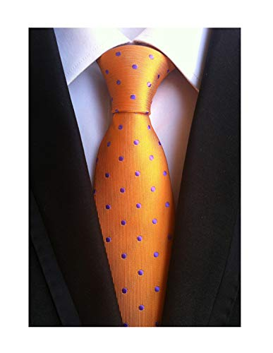 Men's Orange Silk Tie Ascot with Purple Dot Jacquard Woven Self Cravat Neckties