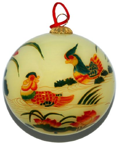 Hand Painted Glass Ornament, Mandarin Ducks with Lotus CO-159