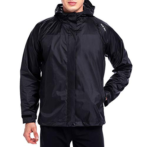 NICEWIN Front-Zip Portable Lightweight Breathable Rain Jacket Hooded Raincoat for Unisex Black-L