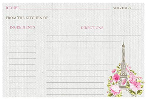 Recipe Cards Paris Love Story Bridal Shower Eiffel Tower Recipe Exchange Cookie Swap France French Theme Housewarming Keepsake Tea Scones Gifts Activities Games Pink Blush Flowers (24 count)