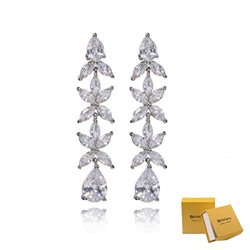 (Women's Cubic Zirconia Statement Earrings - Luxurious Long Crystal Rhinestone CZ Cluster Floral Linear Drop Earrings for Wedding Flower Bridal Teardrop Bling Dangle Earrings for Pageant Gala)