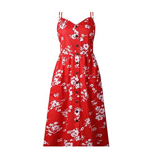 - Summer Dress Bohemian Women Sexy Floral Tunic Beach Maxi Party Dress 16 L