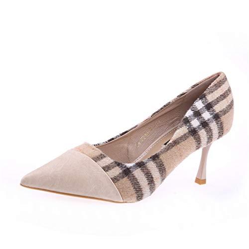 HOESCZS British Wind 2019 Herbst Neue Spitze Plaid Farbe passenden Stiletto Heels Mode flachen Mund einzelne Schuhe Flut Schuhe