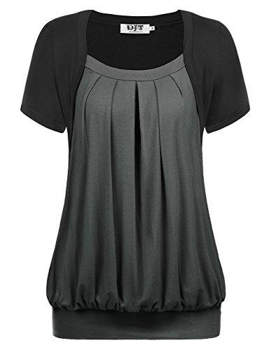 T Gris Manches Plisse Col Femme Courtes Shirt Shirt DJT Elastique Tunique Rond Tee qT8wf