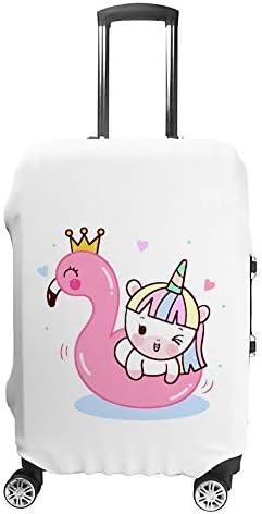スーツケースカバー トラベルケース 荷物カバー 弾性素材 傷を防ぐ ほこりや汚れを防ぐ 個性 出張 男性と女性かわいいユニコーン猫