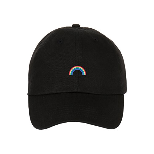 oidered Logo On Unstructured Cotton Low Profile Baseball Dad Cap (Black) (Rainbow Embroidered Hat)
