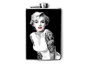 FP272 - Marilyn Monroe with Tattoos Decorated 8oz. Stainless Steel Flask