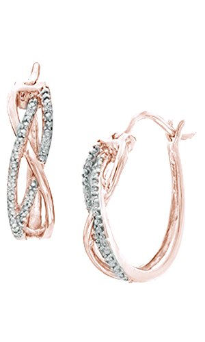 White Natural Diamond Accent Overlay Hoop Earrings In 14K Rose Gold Over Sterling Silver - 14k Gold Overlay Accent