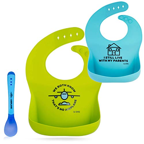 Lil Orso Baby Bibs and Plastic Spoon - Set of 2 Silicone Bibs for Infant Boy and Girl! Soft, Waterproof Drool Bib for Babies Feeding and Teething Or Toddler Spills! ()